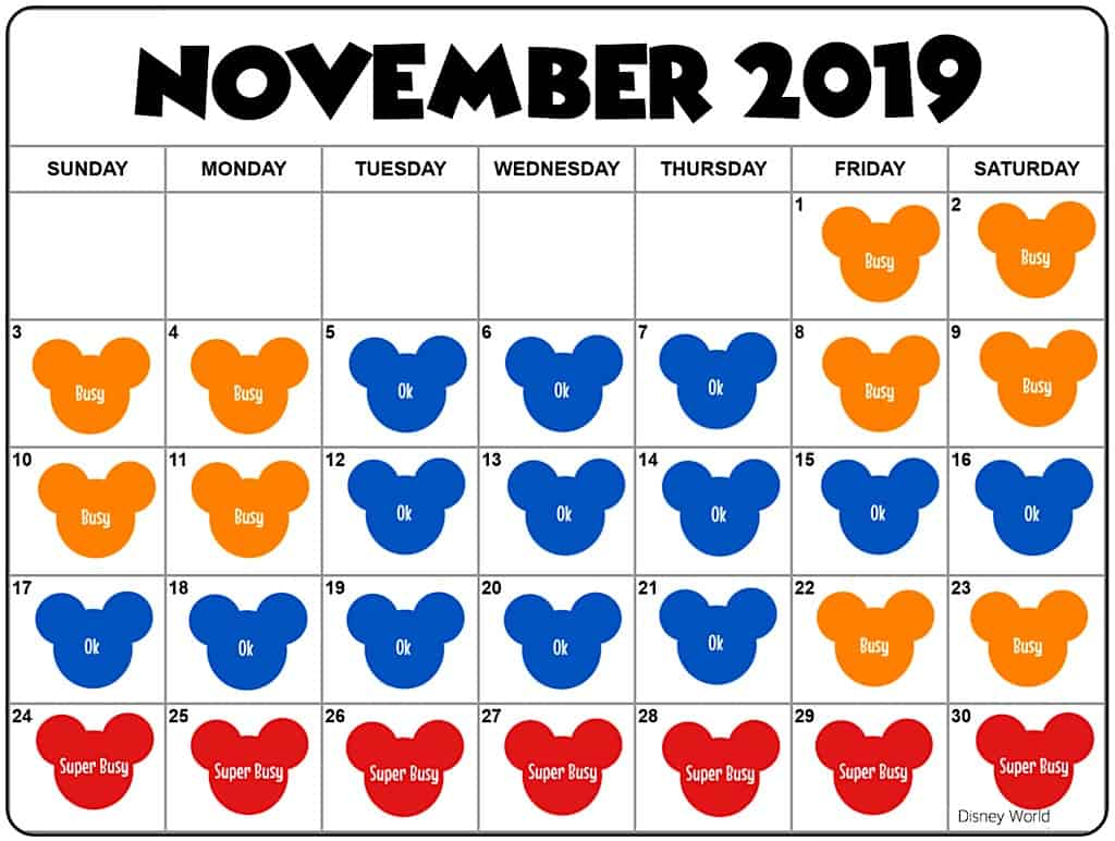 Crowd Calendar for Disney World in November