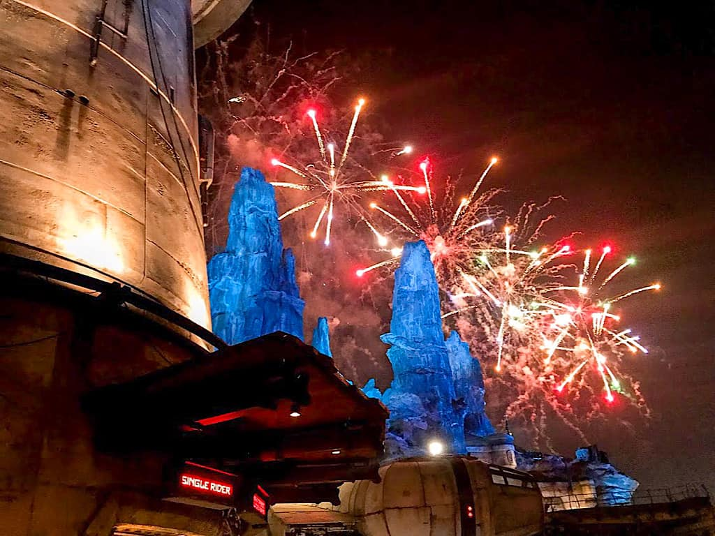 Fireworks at Star Wars: Galaxy's Edge