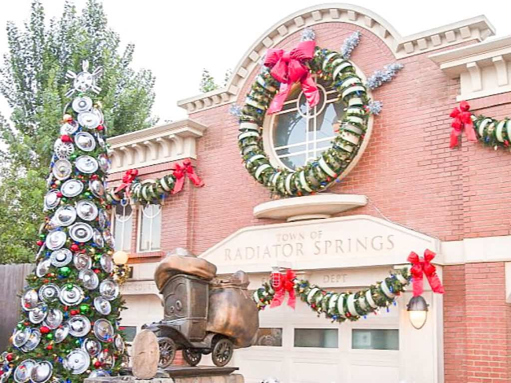 Cars Land Decorated for Christmas