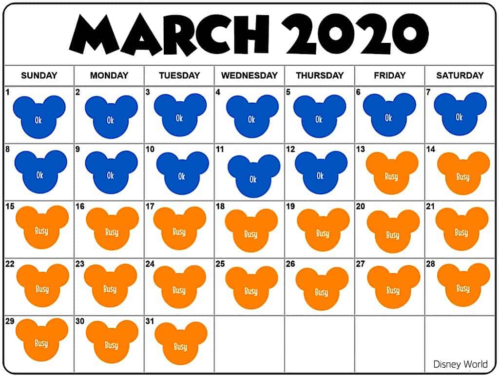 March Disney World Crowd Calendar