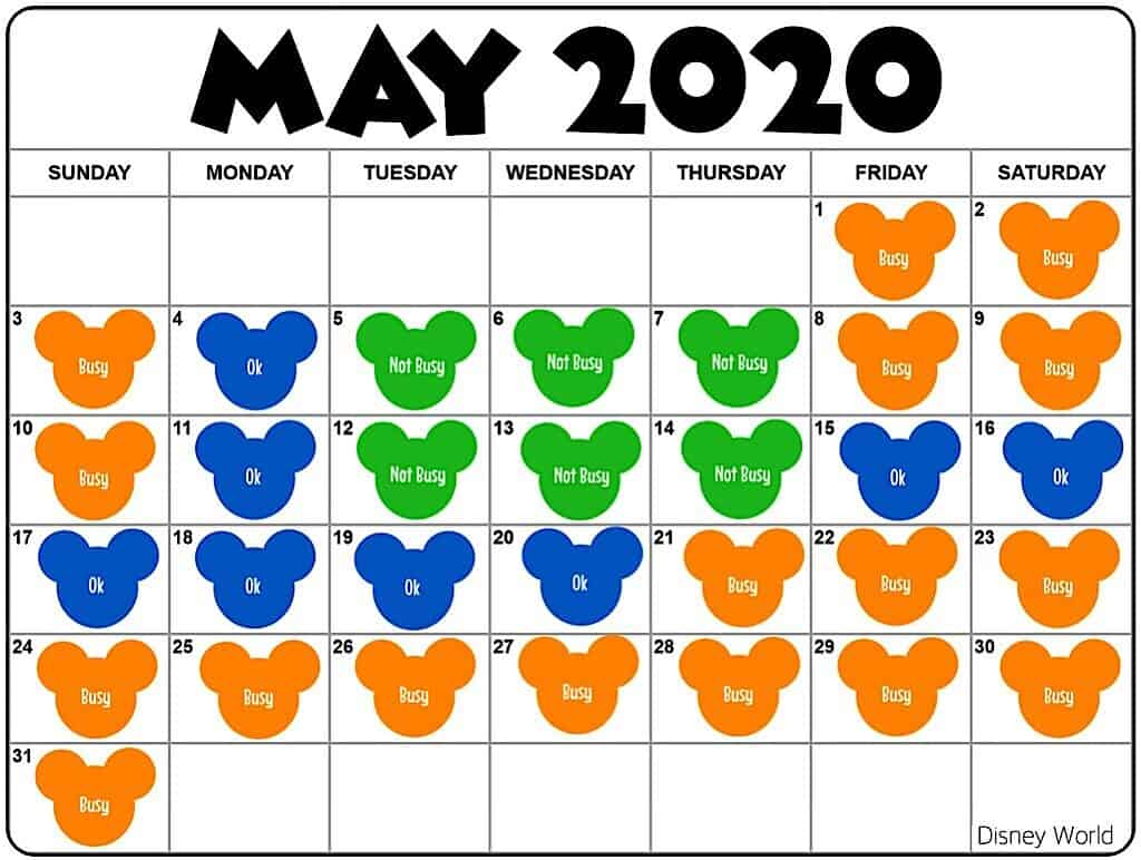 Disney World Crowd Calendar May 2020