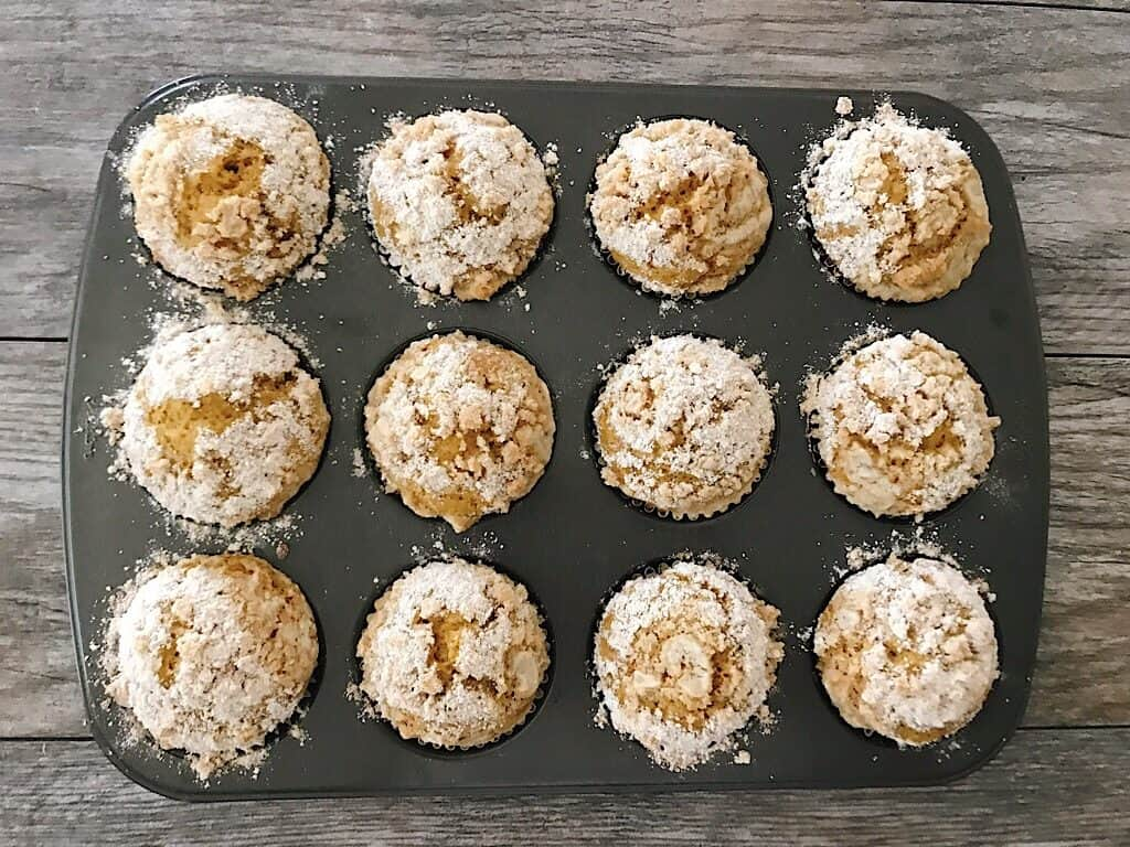 Freshly baked pumpkin streusel muffins