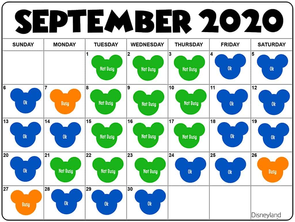 September2020 Disneyland Crowd Calendar and Attendance Chart