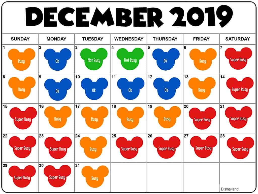 Disneyland December Crowd Calendar