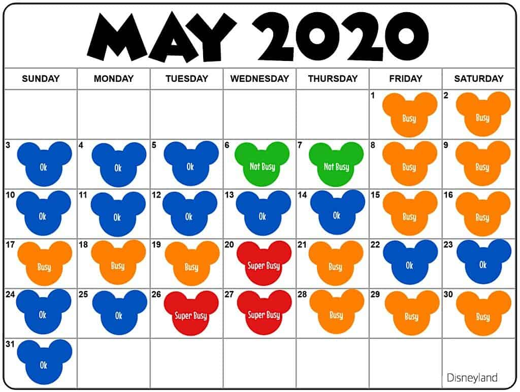 Disneyland in May Crowd Calendar