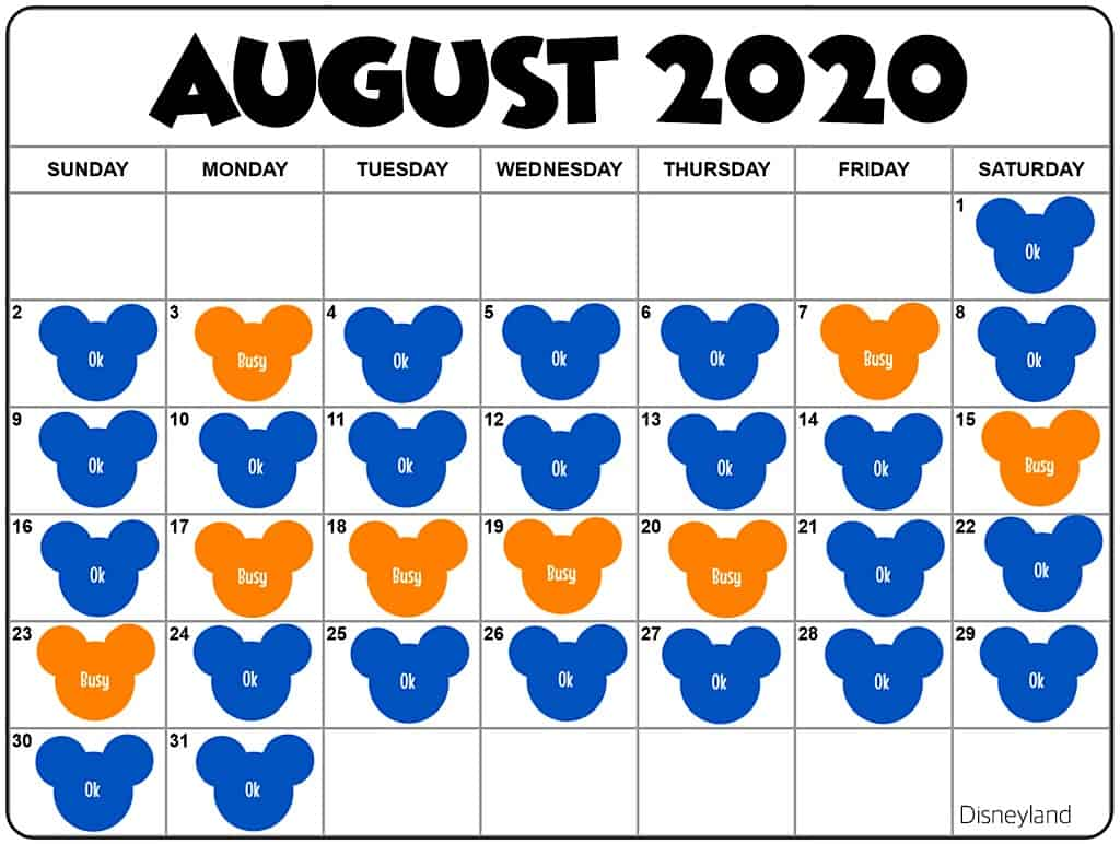 August2020 Disneyland Crowd Calendar and Attendance Chart