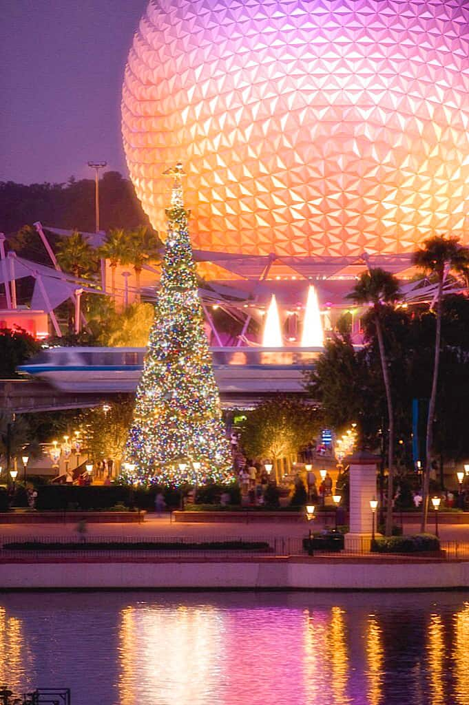 A Christmas Tree with Spaceship Earth