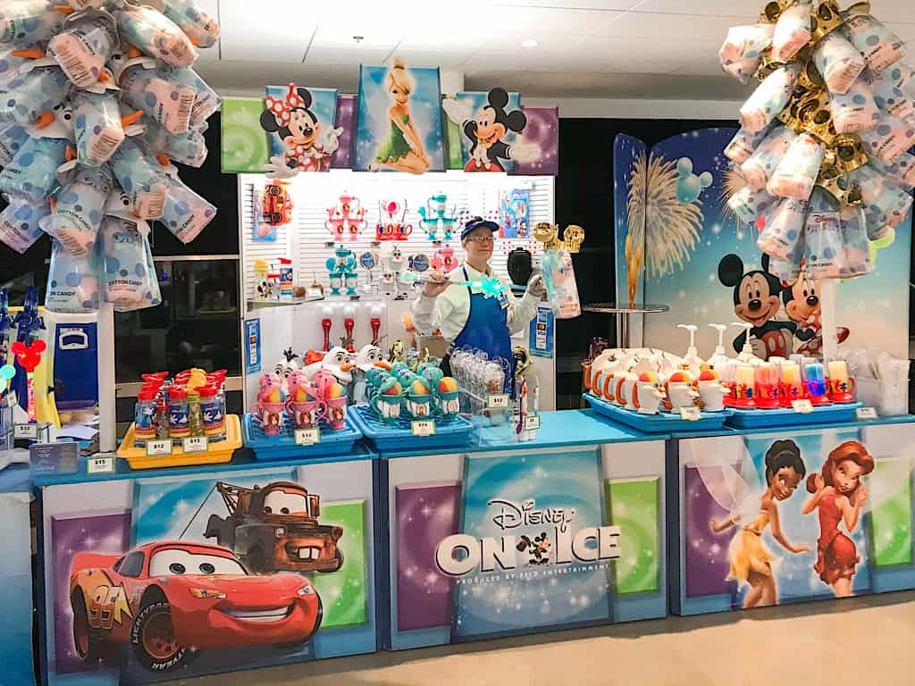 Souvenir stand at Disney on Ice Worlds of Enchantment
