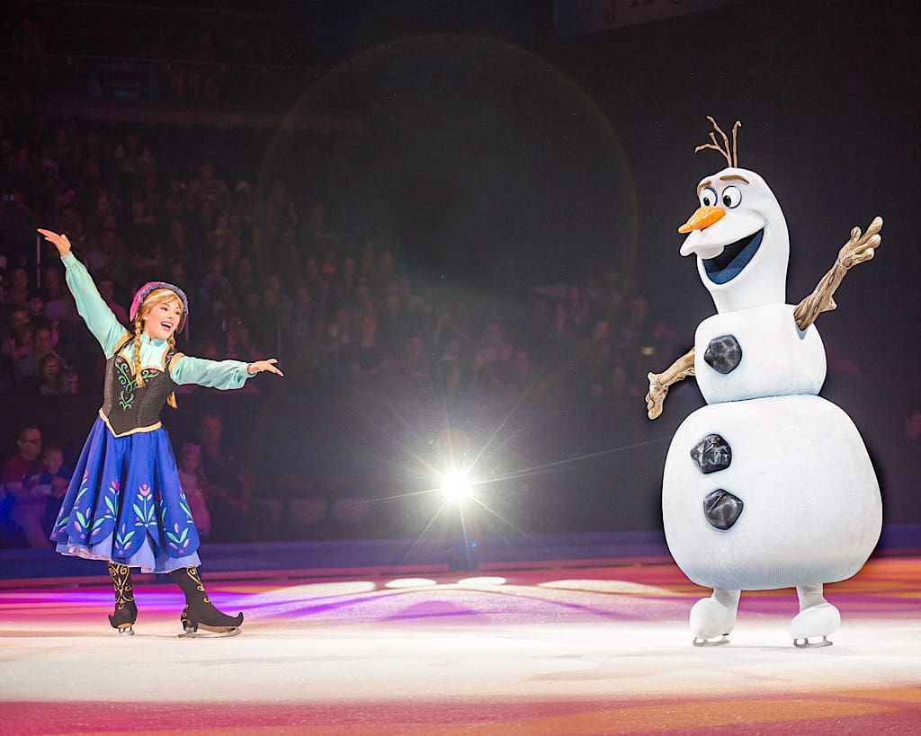 Ana and Olaf from Frozen in Disney on Ice Worlds of Enchantment