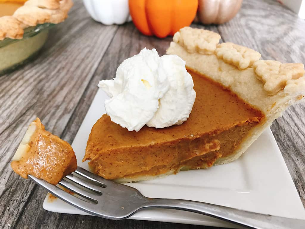 A slice of copycat Costco pumpkin pie