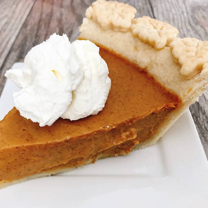 A slice of creamy copycat Costco Pumpkin Pie