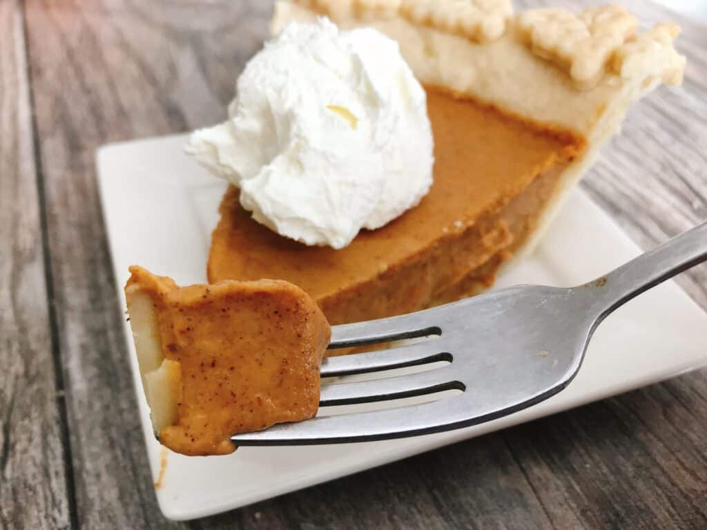 A bite of Costco Pumpkin Pie