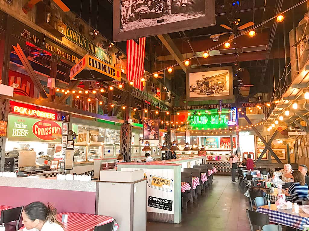 Dining area of Portillo's in Southern California