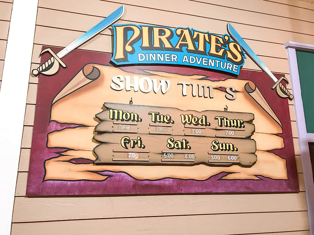 Sign for Pirate's Dinner Adventure in Buena Park, California