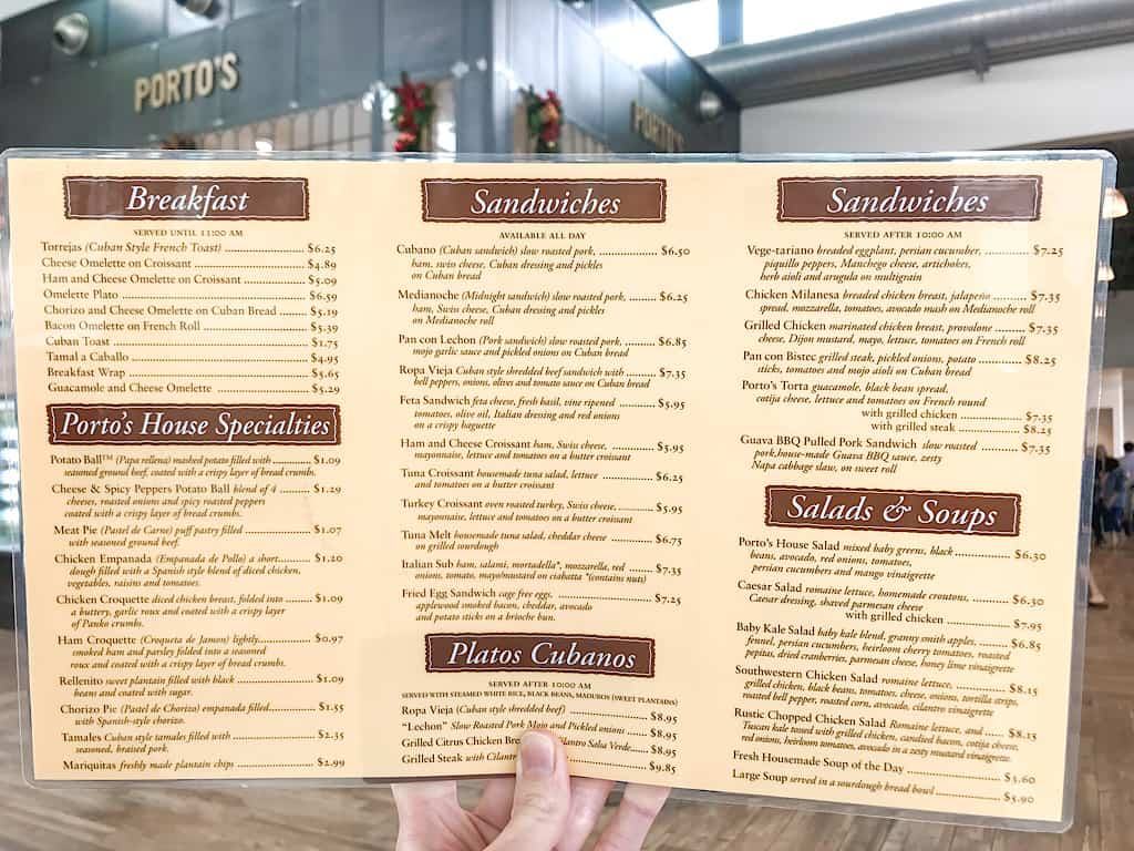 Menu for Porto's Bakery & Cafe in Buena Park, California
