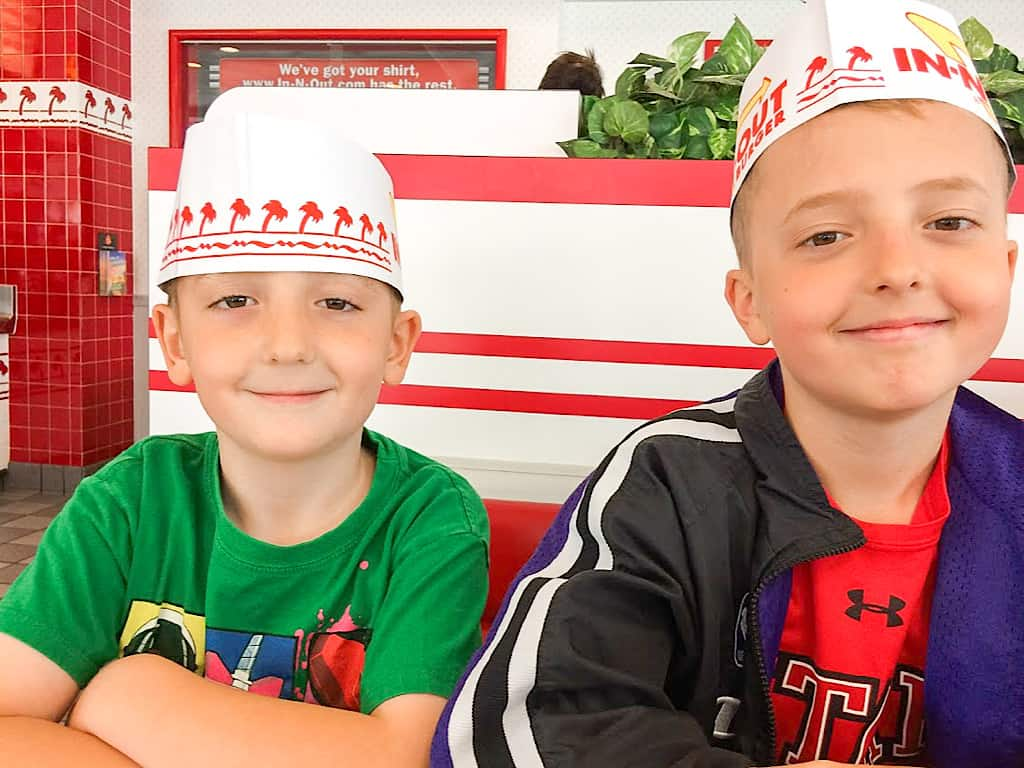 Two kids at In-N-Out Burger in Orange County California