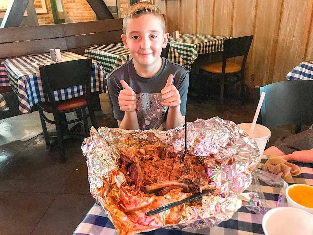 A boy who ate Ribs at Portillo's in Buena Park California