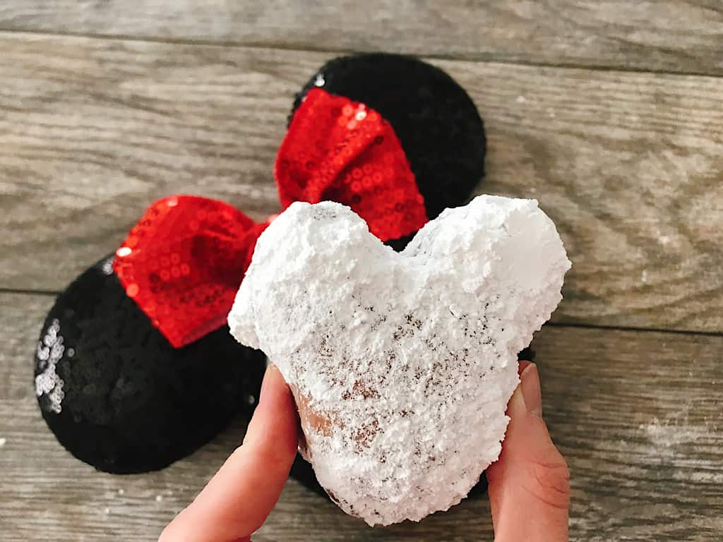 A Homemade Mickey Mouse Beignet and Minnie Mouse Ears