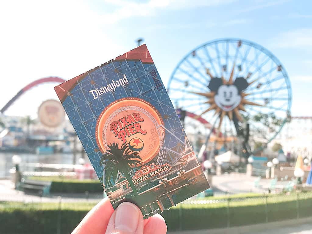 Disneyland ticket at Pixar Pier Disney California Adventure