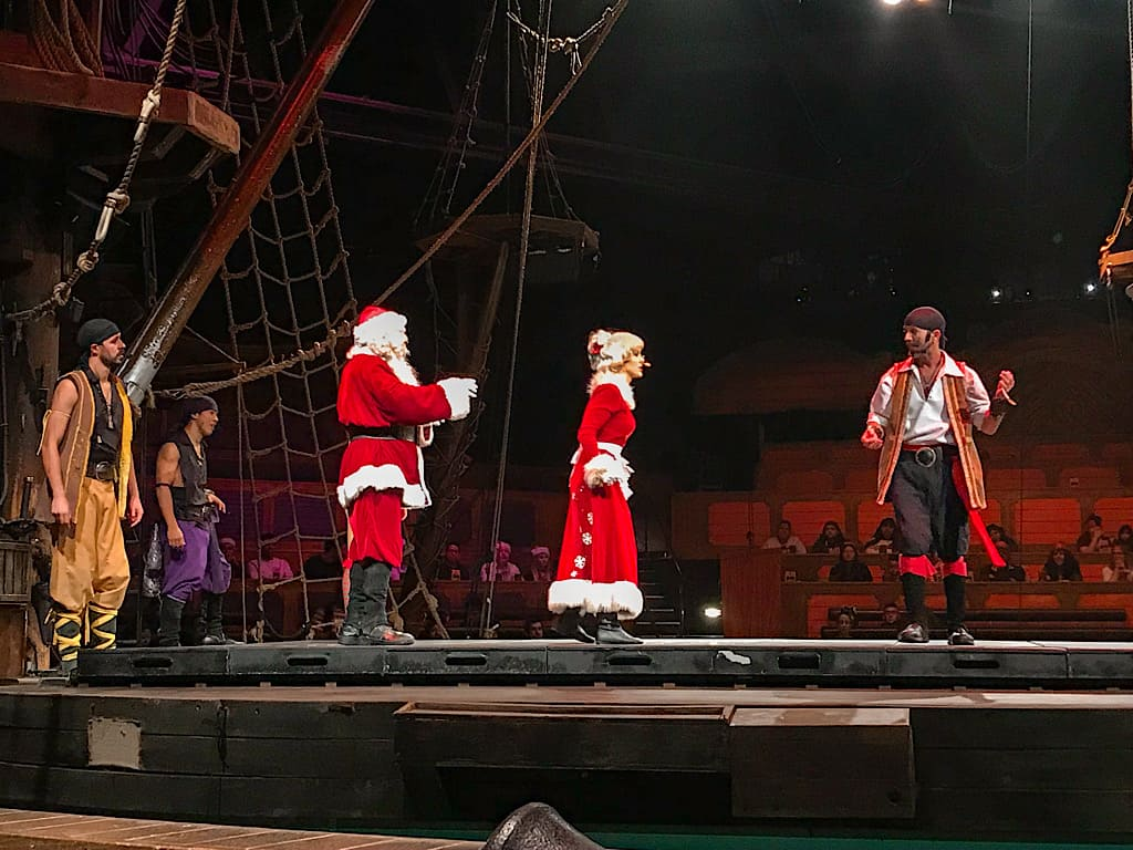 Santa, Mrs. Claus, with Pirates for the dinner show
