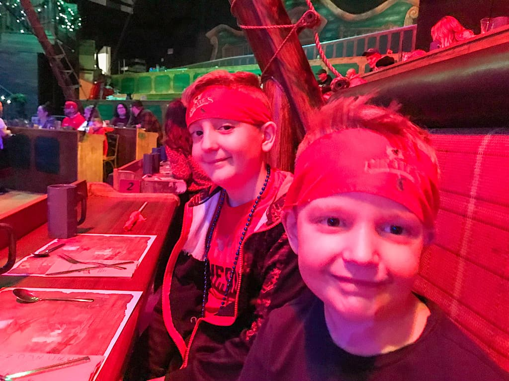 Two Kids at Pirate's Dinner Adventure in Buena Park, California