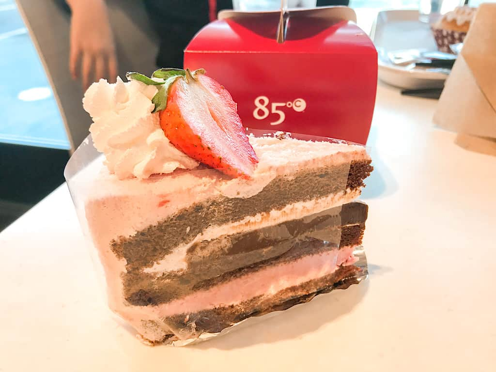 Chocolate Strawberry Cake from 85C Bakery where to eat in Southern California