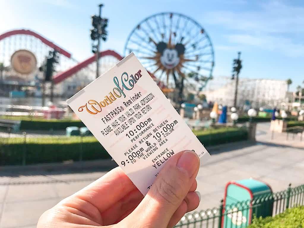 World of Color Fastpass at Disneyland