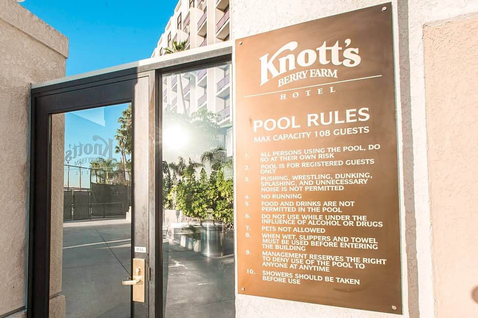 Pool Rules at Knott's Berry Farm Hotel