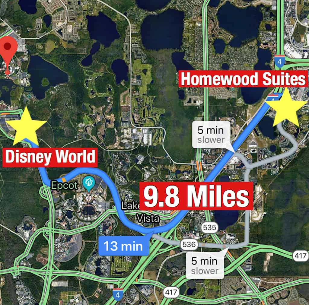 Map showing how far it is from Homewood Suites Orlando to Disney World