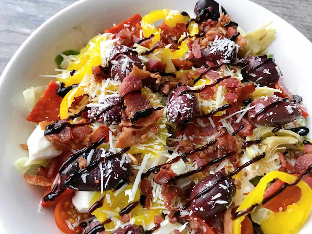 Tossed Italian Salad with Balsamic Glaze