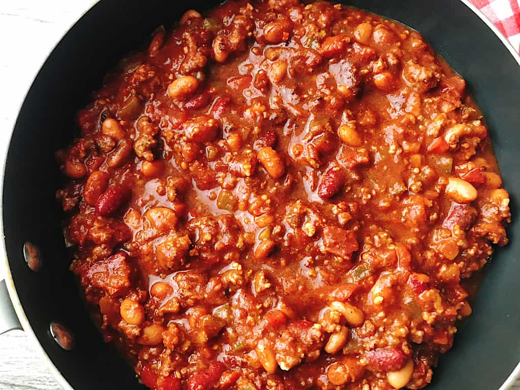 A pan of Instant Pot Chili