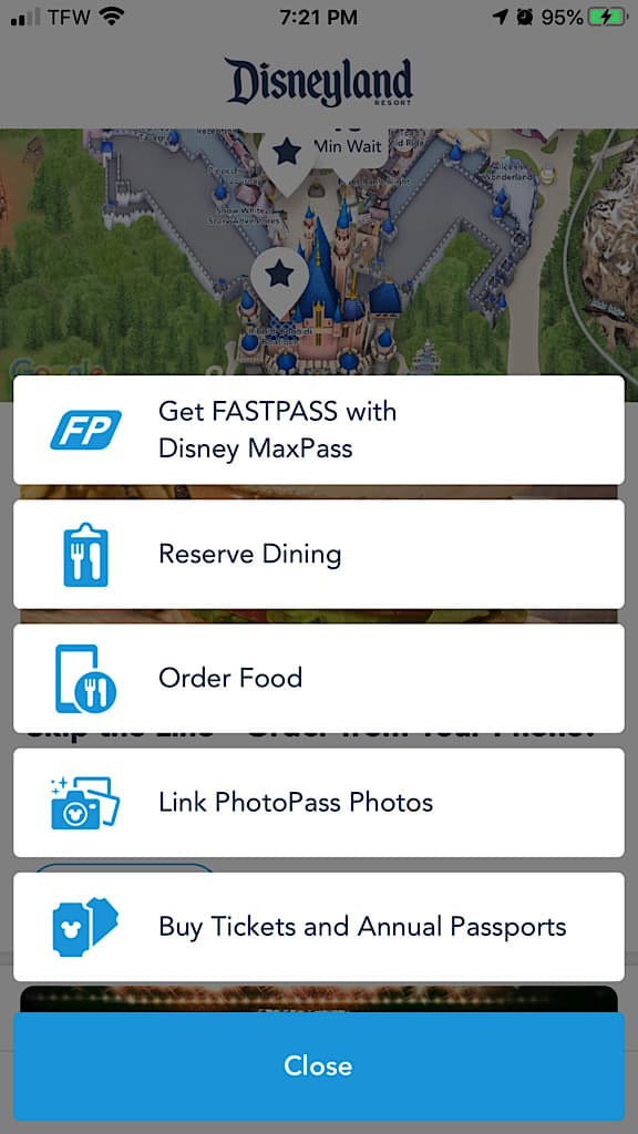 Screenshot of Disneyland App