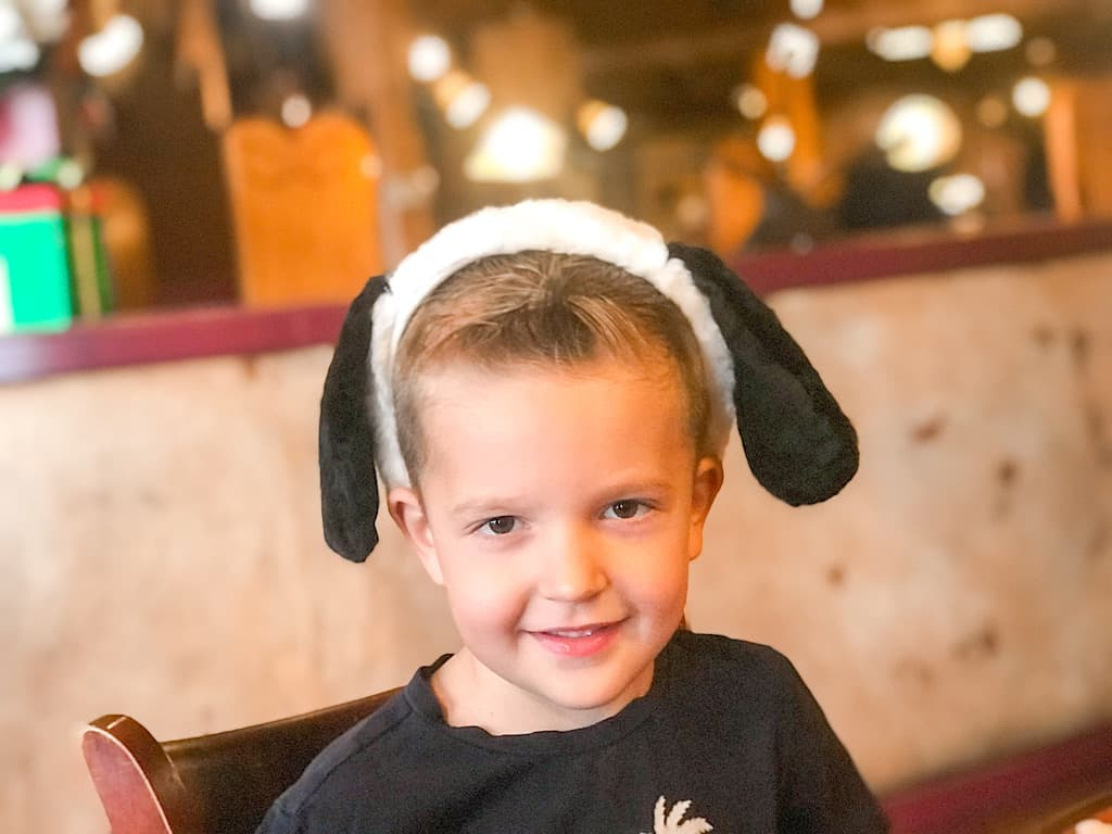 A boy with Snoopy Ears at Knott's Berry Farm Hotel