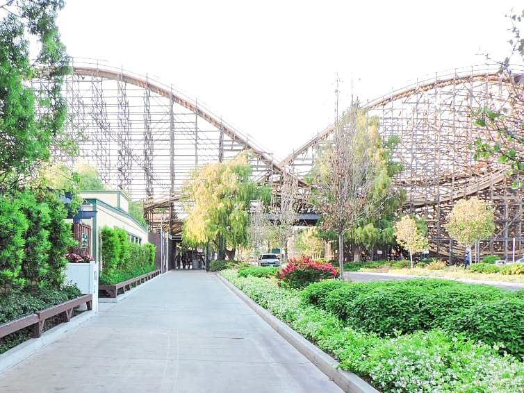 Walkway from Knott's Berry Farm Hotel to Knott's Berry Farm with Ghost Rider Roller Coaster