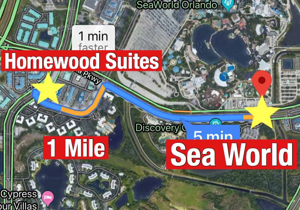 Map showing how far it is from Homewood Suites Orlando to Sea World