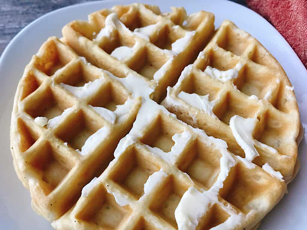 Waffle with butter.