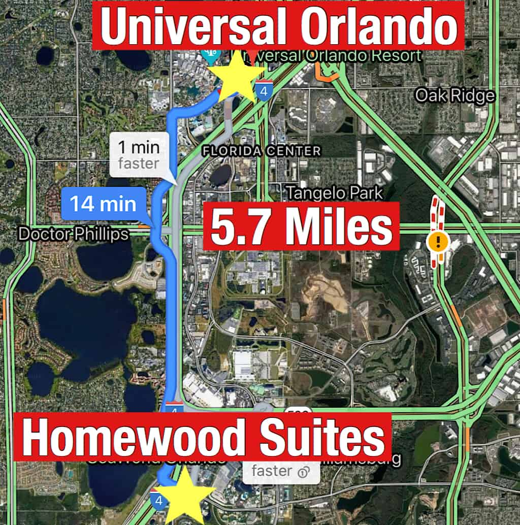 Map showing how far it is from Homewood Suites Orlando to Universal Orlando