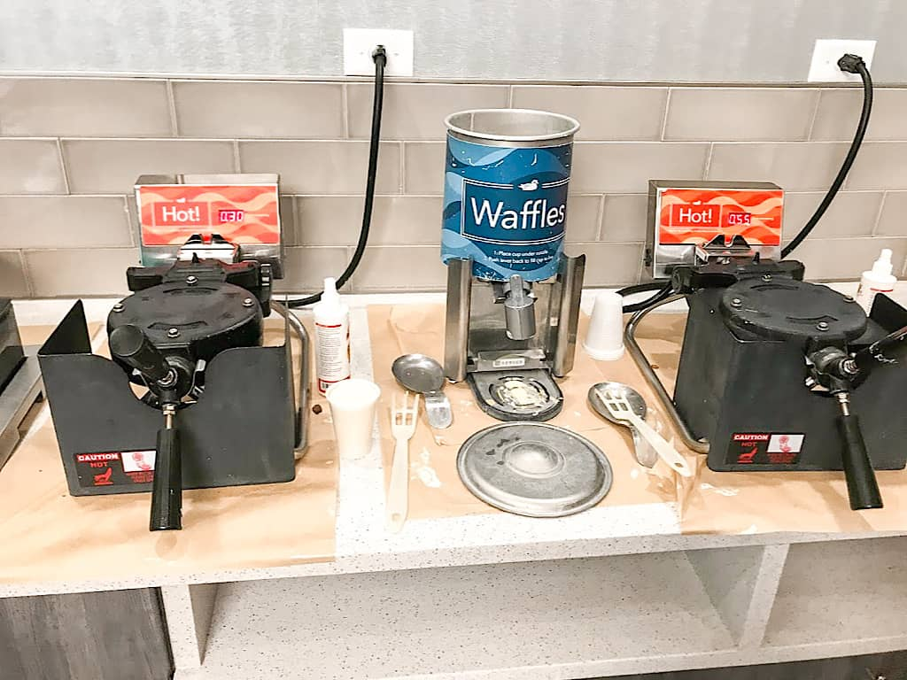 Waffle area at Homewood Suites Orlando