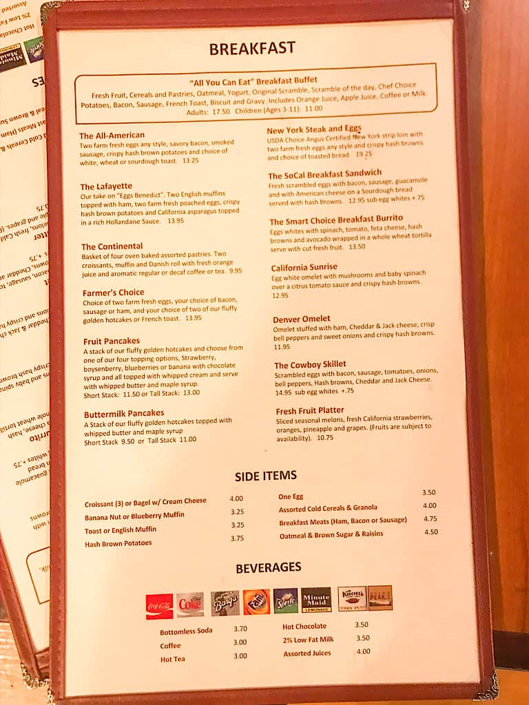 Amber Waves Breakfast Menu