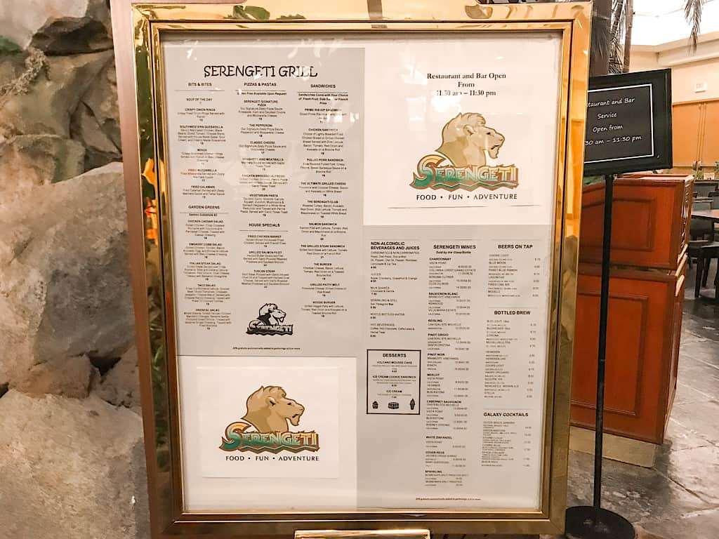 Menu of Serengeti Grill inside Embassy Suites Anaheim