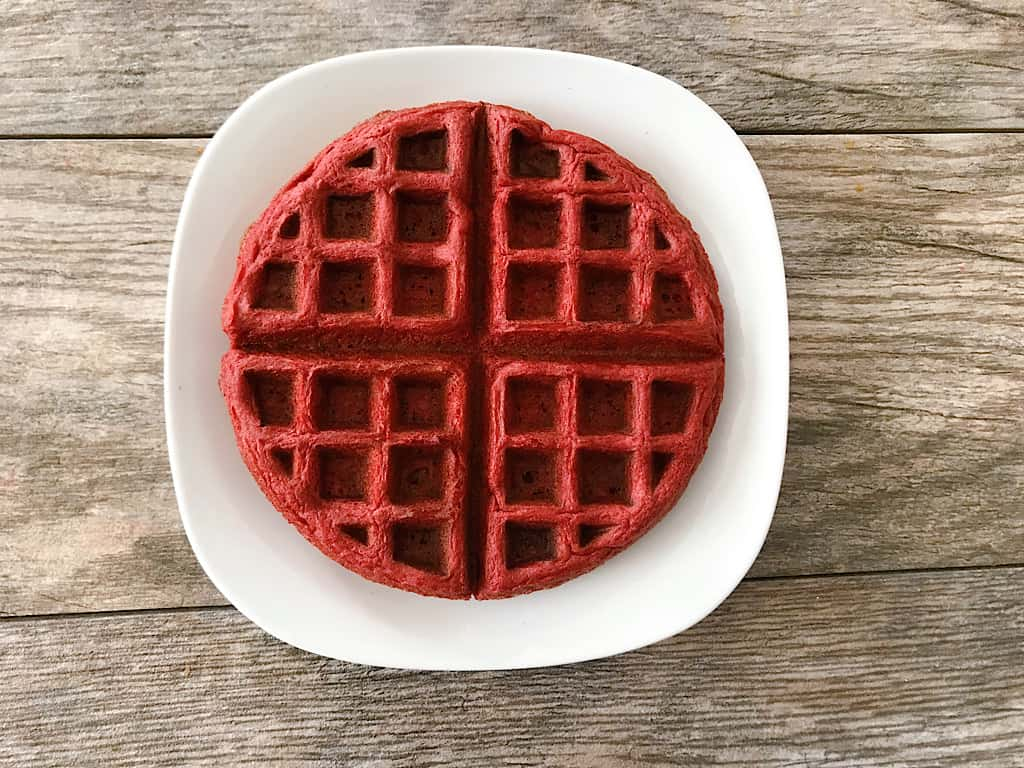 Red Velvet Cake Mix Waffle on a white plate