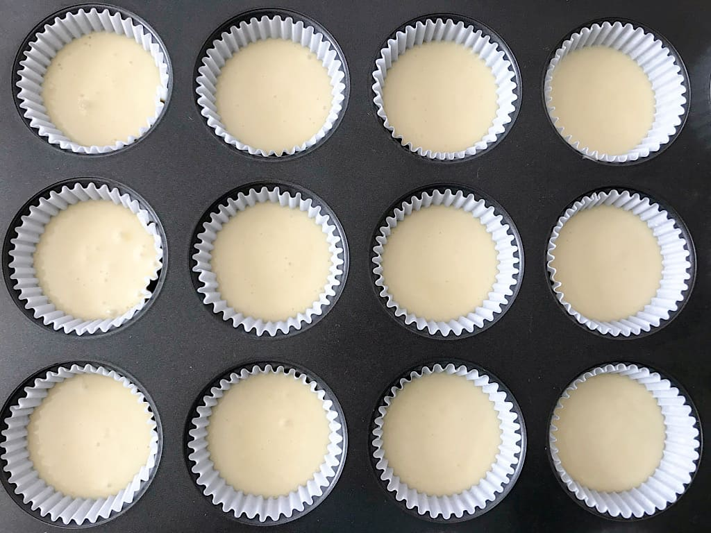 Cupcake batter in baking liners