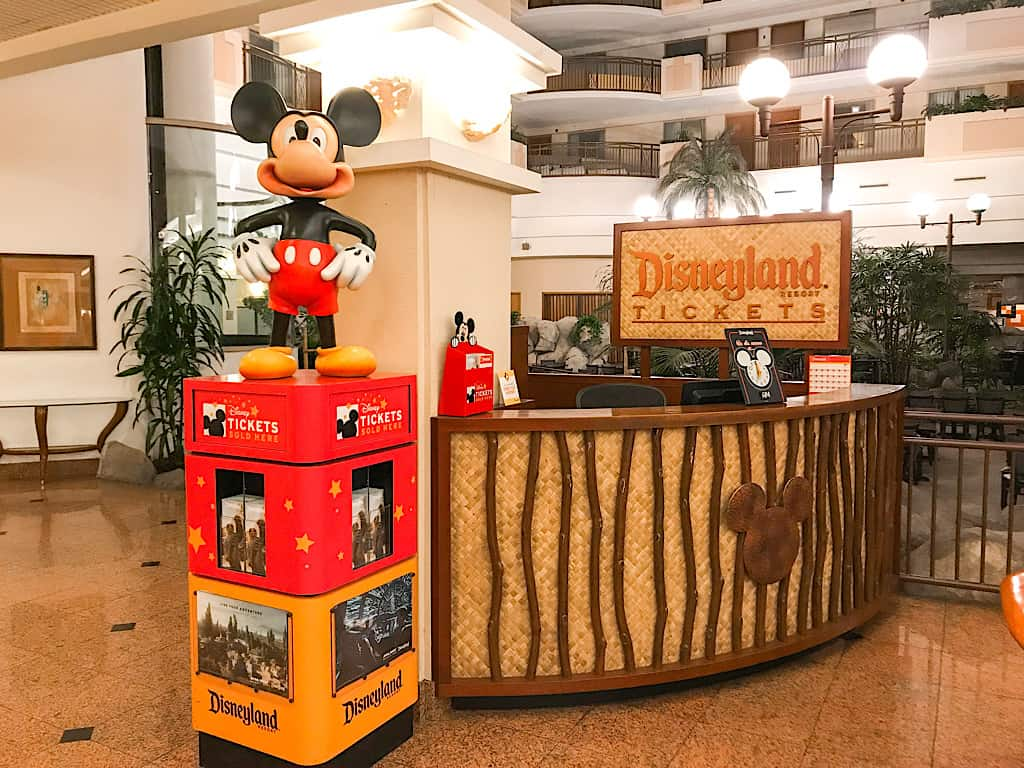 Disneyland ticket counter inside the lobby of Embassy Suites Anaheim South