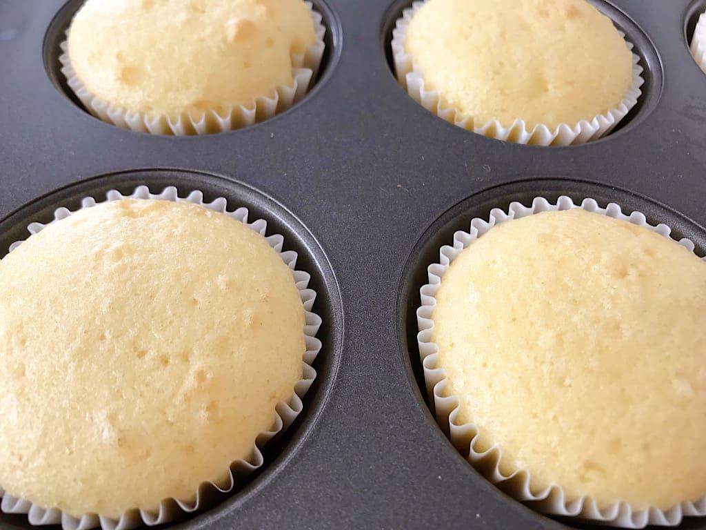 close up of baked vanilla cupcakes