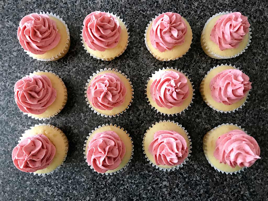 One dozen strawberry cheesecake cupcakes