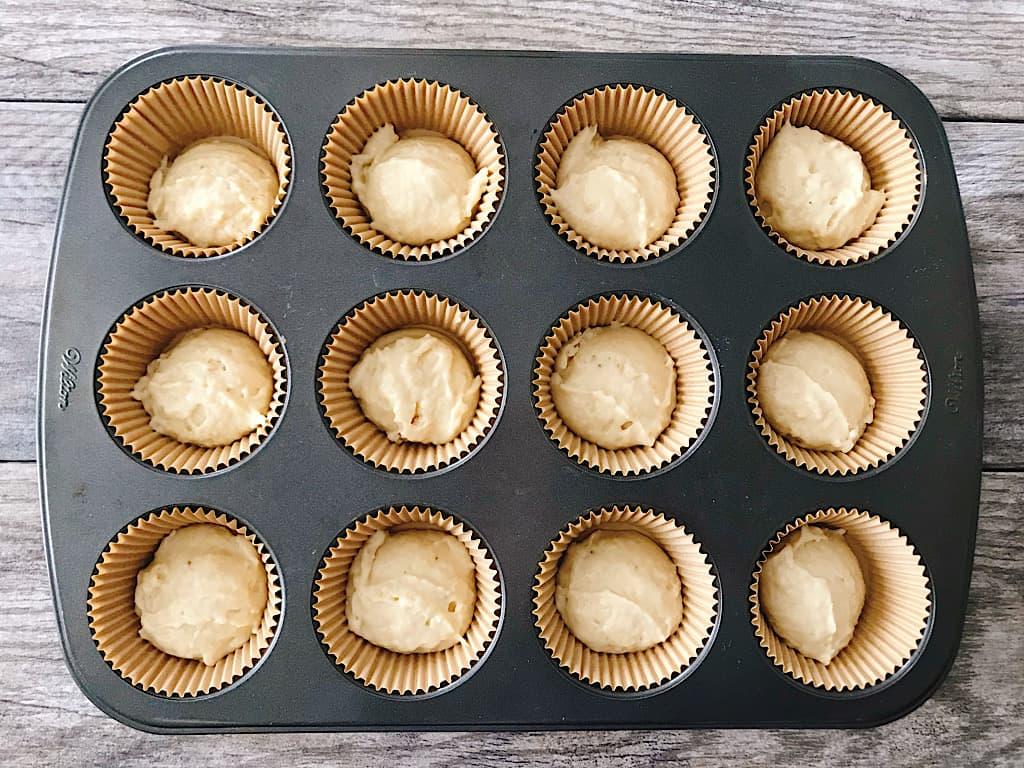 Banana muffin batter ready to bake