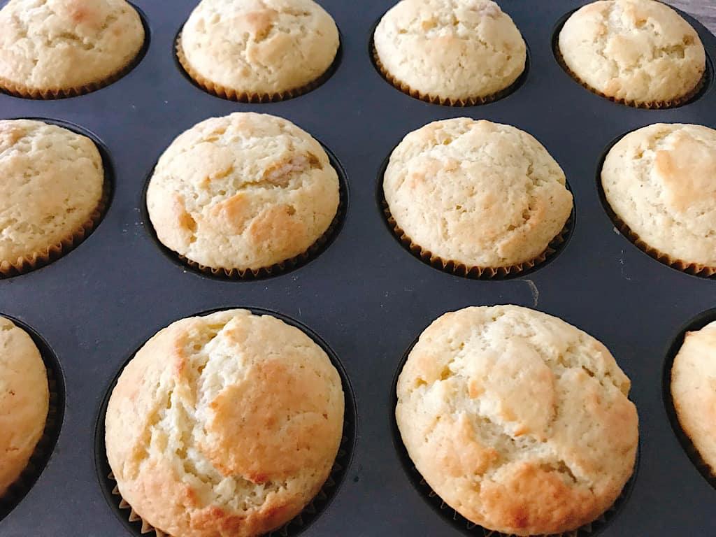 Banana Cream Muffins in a muffin pan