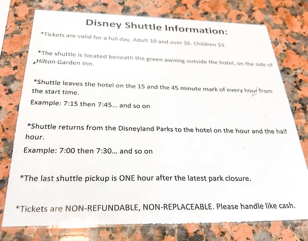Disneyland shuttle service from Embassy Suites