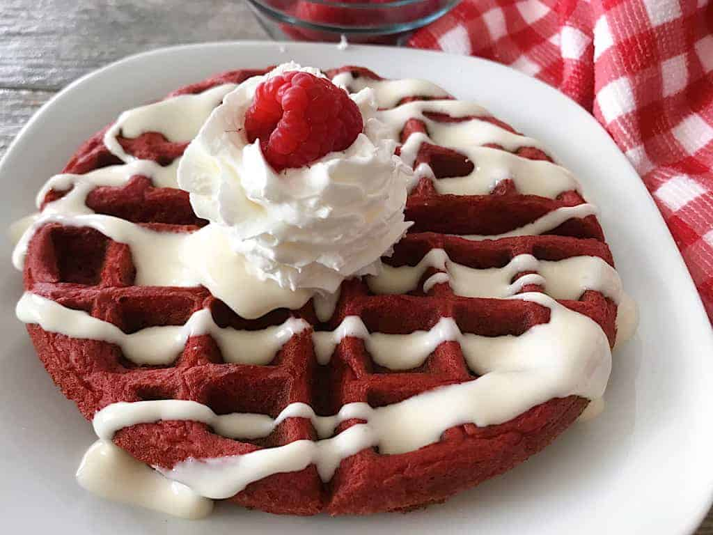 Red Velvet Cake Mix Waffle with Cream Cheese Syrup