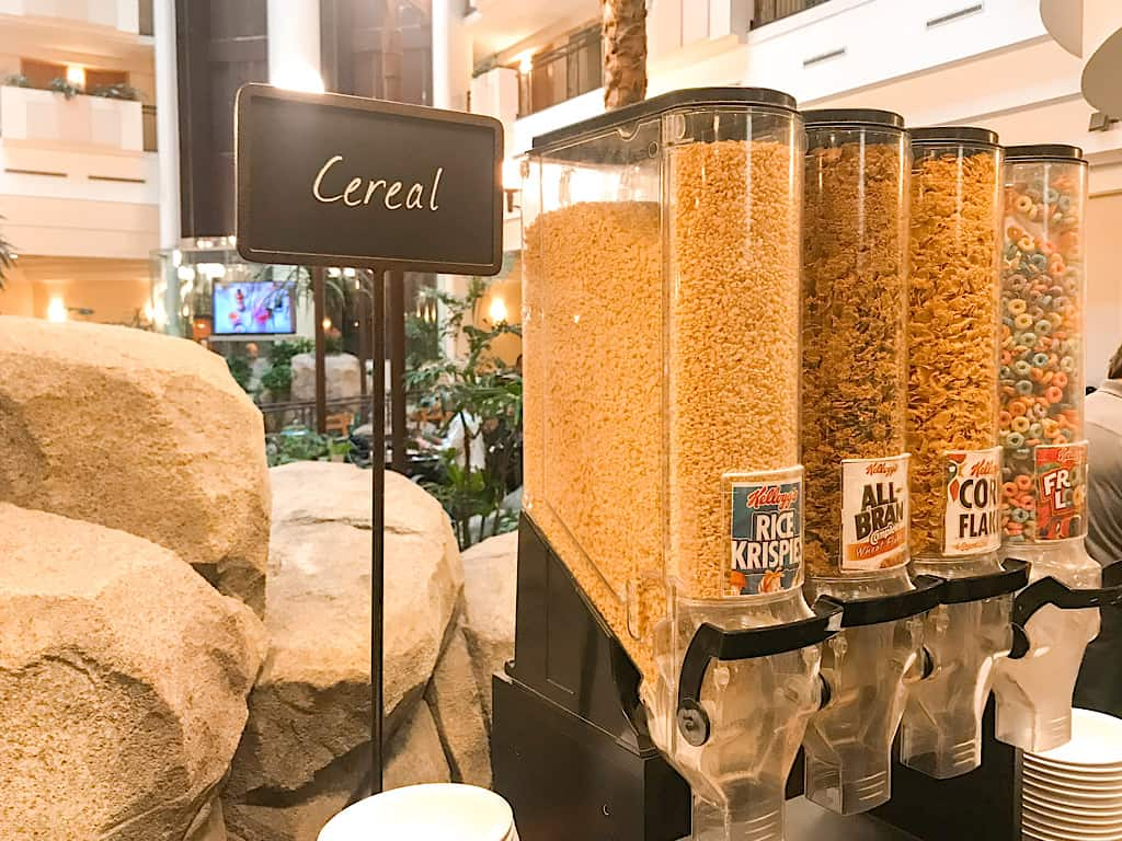 A variety of cold cereals offered for complimentary breakfast